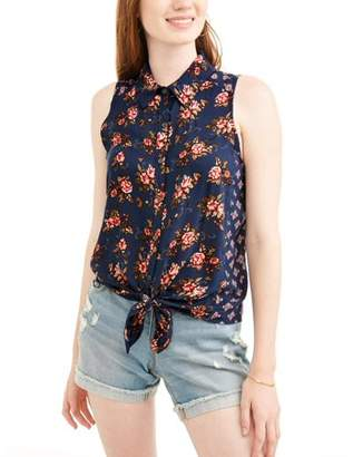 No Boundaries Juniors' Floral Printed Tie Front Woven Tank
