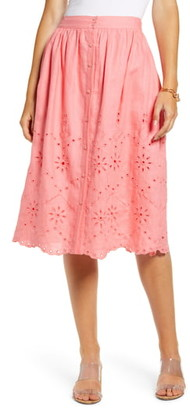 Rachel Parcell Eyelet Linen A-Line Skirt