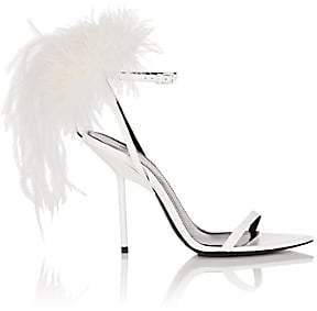 Saint Laurent Women's Bunny Patent Leather Sandals - White