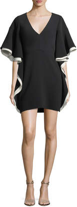 Halston Colorblocked V-Neck A-line Cocktail Dress w/