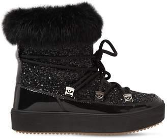 Chiara Ferragni 30mm Glittered Snow Boots W/ Lapin Fur