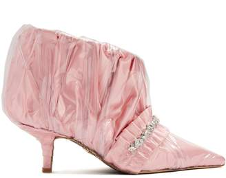 Cesare Paciotti BY MIDNIGHT Crystal-embellished ruched satin ankle boot