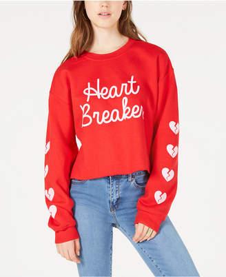 Love Tribe Juniors' Heartbreaker Cropped Graphic Sweatshirt