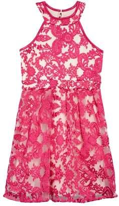 Love, Nickie Lew Floral Mesh Detail Dress