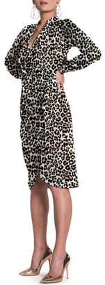Leota Vayda Leopard-Print Long-Sleeve Wrap Shirtdress