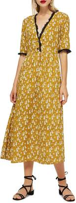 Topshop Cheetah Midi Dress