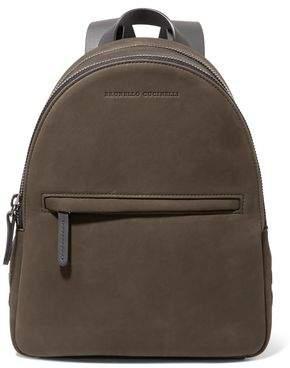 Brunello Cucinelli Leather-Trimmed Bead-Embellished Suede Backpack