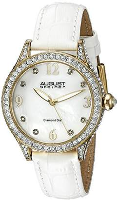 August Steiner Women's AS8188WTG Yellow Gold Crystal Accented Quartz Watch with White Mother of Pearl Dial and White Embossed Leather Bracelet