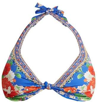 Camilla Playing Koi Knotted Bikini Top - Womens - Blue Print