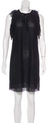 Philosophy di Lorenzo Serafini Lace-Trimmed Cold-Shoulder Dress