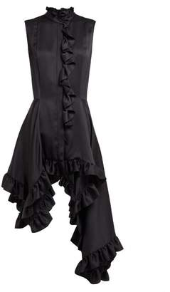 Alexander McQueen Ruffled Asymmetric Silk Blouse - Womens - Black