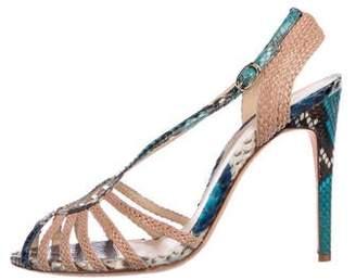 Alexandre Birman Snakeskin Caged Sandals