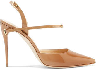 Jennifer Chamandi - Vittorio Patent-leather Slingback Pumps - Camel