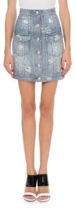 Balmain High-Waist Strass Denim Mini Skirt