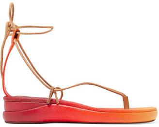 99b86a53eec9 Chloé Wave Dégradé Lizard-effect Leather Sandals - Red