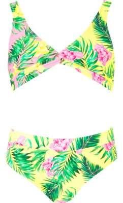 River Island Girls pink triangle twist front bikini