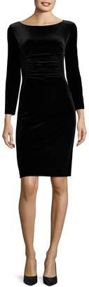 Emporio Armani Long Sleeve Gathered Velvet Dress