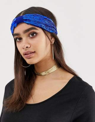 Asos Design DESIGN sequin headband in blue