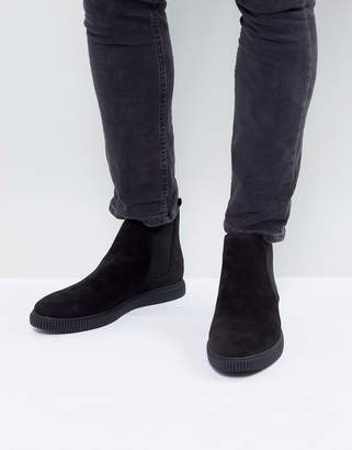 Asos DESIGN chelsea boots in black faux suede with creeper sole