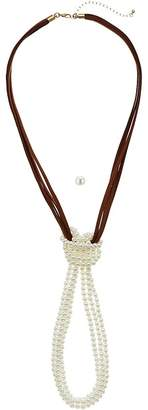 M&F Western Suede and Pearl Knot Necklace/Earrings Set Jewelry Sets