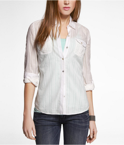 Express Shadow Stripe Two-Pocket Easy Fit Shirt