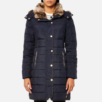 Joules Women's Caldecott Feather and Down Coat with Faux Fur Trim Hood
