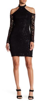 Sequin Hearts Cold Shoulder Lace Halter Dress (Juniors) $64 thestylecure.com