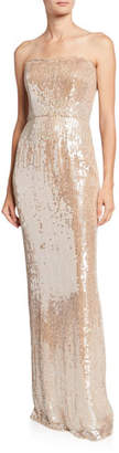 Jenny Packham Strapless Sequined Column Gown