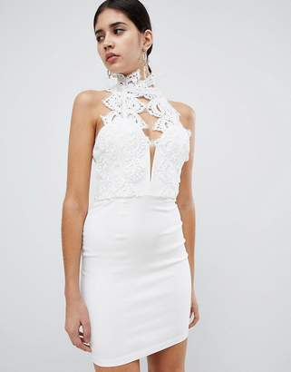 Rare London high neck plunge lace mini dress