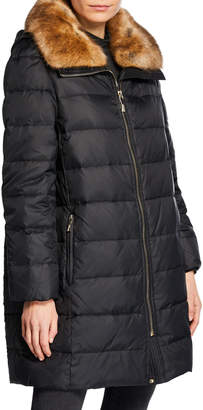 Kate Spade Down Fill Hooded Puffer Coat w/ Faux-Fur Collar