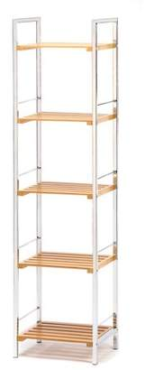 Accent Plus 5 Tier Shelf, Wooden Bamboo Metal Display Shelf Bookcase For Bathroom