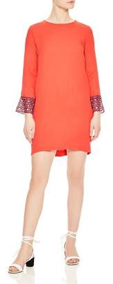 Sandro Jelal Eyelet-Lace Cuff Shift Dress