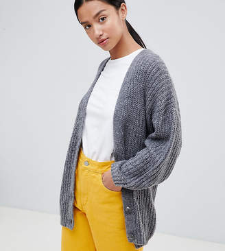 Asos Design Petite Oversize Cardigan In Chunky Rib With Buttons