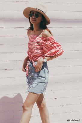 FOREVER 21+ Off-the-Shoulder Gingham Top $19.90 thestylecure.com