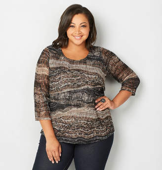 Avenue Abstract Tiered Lace Top