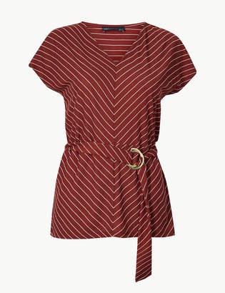 Marks and Spencer Striped V-Neck Short Sleeve Top