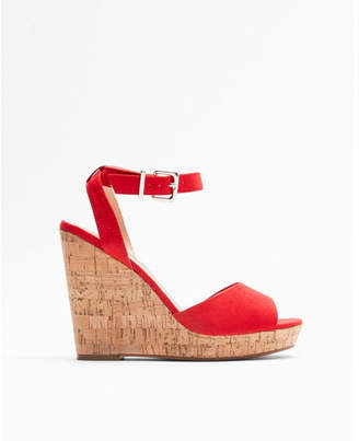 Express red cork wedge sandals