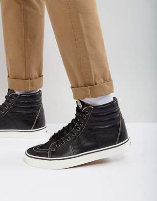 Vans Sk8-Hi Premium Leather Sneakers In Black VA38GEOE6