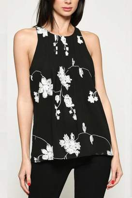 Esley Collection Embroidered Chiffon Top