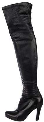 CNC Costume National Leather Round-Toe Thigh-High Boots