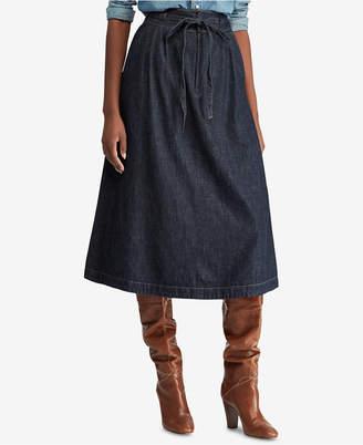Polo Ralph Lauren (ポロ ラルフ ローレン) - Polo Ralph Lauren Denim Cotton A-Line Midi Skirt
