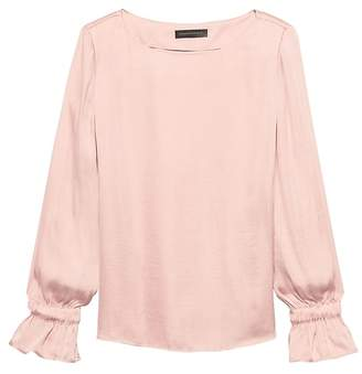 Banana Republic Solid Poet-Sleeve Top
