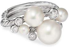 David Yurman Pearl & Diamond Cluster Ring, Size 9
