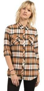 Volcom Women's Desert Fly Long Sleeve Relaxed Yarn Dye Flannel Shirt