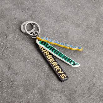 Burberry Tag Print Leather Key Ring
