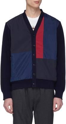 Nanamica Colourblock patchwork panel waffle knit sleeve cardigan