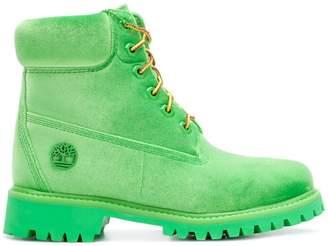 Off-White velvet Timberland boots
