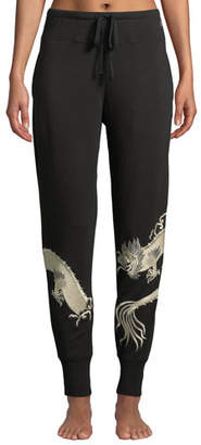 Natori Dragon-Embroidered Cocoon Jogger Pants