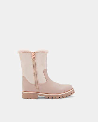 Ted Baker RUTHHY Faux fur trim metallic boots