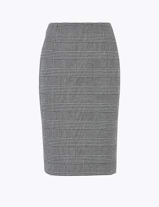 Marks and Spencer Jersey Checked Pencil Knee Length Skirt